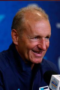 NHL Coach Ralph Krueger giving an interview.