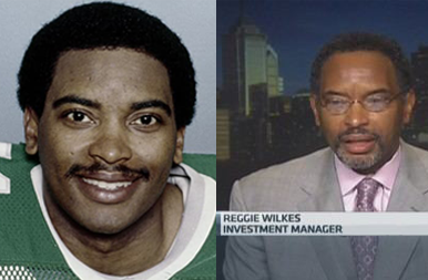 Reggie Wilkes in his Philadelphia Eagles Jersey on the Left, Him on CNBC on the Right