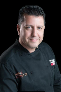 Marrio Rizzotti in his black chef's uniform.